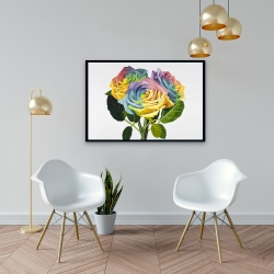 Framed 24 x 36 - Bouquet of rainbow roses