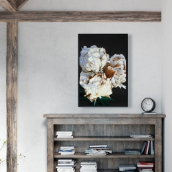 Framed 24 x 36 - Blooming peonies