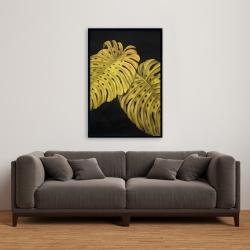 Framed 24 x 36 - Gold monstera