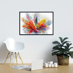 Framed 24 x 36 - Abstract flower with texture