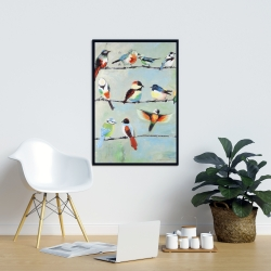 Framed 24 x 36 - Small abstract colorful birds