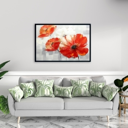 Framed 24 x 36 - Abstract red wild flowers