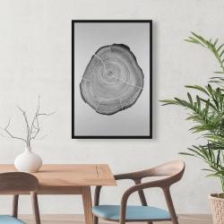 Framed 24 x 36 - Grayscale oval shaped tree slab