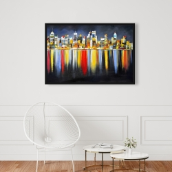 Framed 24 x 36 - Colorful reflection of a cityscape by night