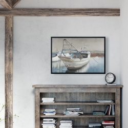 Framed 24 x 36 - Fishing boat desatured