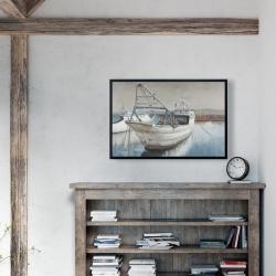 Framed 24 x 36 - Fishing boat desatured