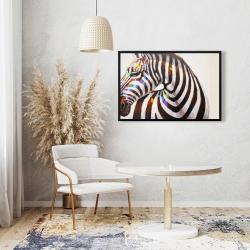 Framed 24 x 36 - Colorful zebra