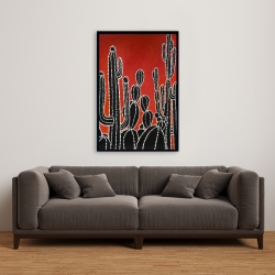 Framed 24 x 36 - Black tall cactus