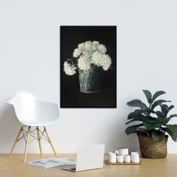 Framed 24 x 36 - White hydrangea flowers