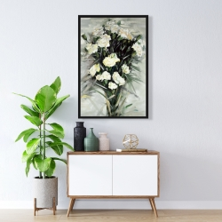Framed 24 x 36 - Lisianthus white bouquet