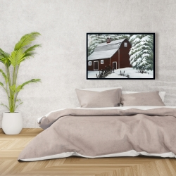 Framed 24 x 36 - Red barn in snow