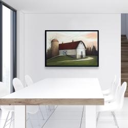 Framed 24 x 36 - White barn view