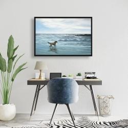 Framed 24 x 36 - Dog on the beach