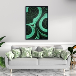 Framed 24 x 36 - Malachite stone