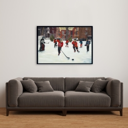Framed 24 x 36 - Young hockey players