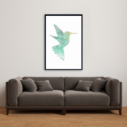 Framed 24 x 36 - Geometric hummingbird