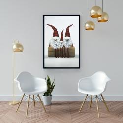 Framed 24 x 36 - Three christmas gnomes