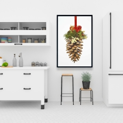 Framed 24 x 36 - Christmas pine cone