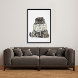 Framed 24 x 36 - Blue gray persian cat
