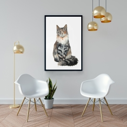 Framed 24 x 36 - Norwegian forest cat
