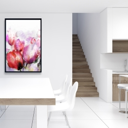 Framed 24 x 36 - Abstract blurry tulips