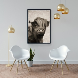 Framed 24 x 36 - Highland cattle sepia