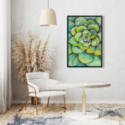 Framed 24 x 36 - Watercolor succulent plant