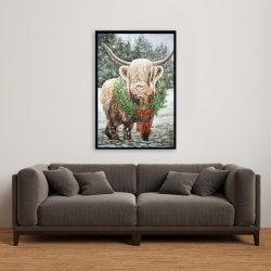 Framed 24 x 36 - Highland christmas cow