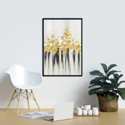 Framed 24 x 36 - Abstract gold flowers