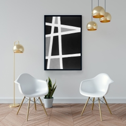 Framed 24 x 36 - Black and white abstract shapes