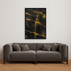 Framed 24 x 36 - Black and gold marble texture