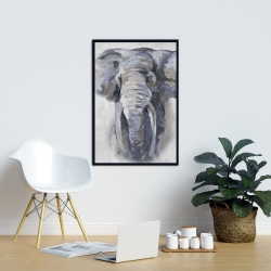 Framed 24 x 36 - Pastel blue elephant