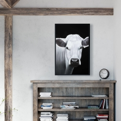 Framed 24 x 36 - White cow