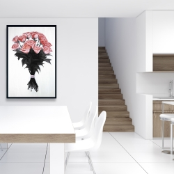 Framed 24 x 36 - Bouquet of coral roses