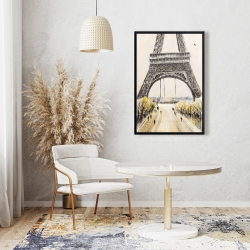 Framed 24 x 36 - Eiffel tower with flying birds