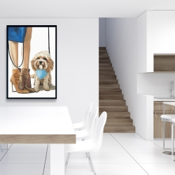 Framed 24 x 36 - Fashionable cavoodle dog