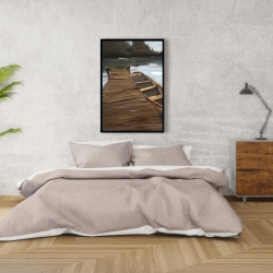 Framed 24 x 36 - Lake, dock and boat