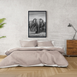 Framed 24 x 36 - Herd of elephants