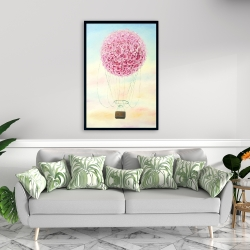Framed 24 x 36 - Hot air balloon hydrangea flowers