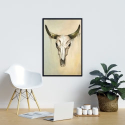Framed 24 x 36 - Color fading bull skull