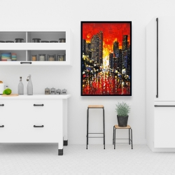 Framed 24 x 36 - Abstract sunset on the city