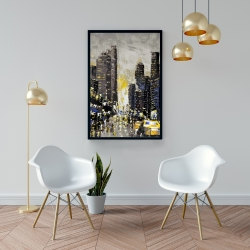 Framed 24 x 36 - Abstract and texturized city with yellow taxis
