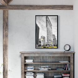 Framed 24 x 36 - Outline of flatiron building to new-york