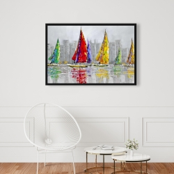 Framed 24 x 36 - Sailboats in the wind
