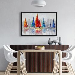 Framed 24 x 36 - Colorful boats near a gray city