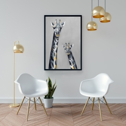 Framed 24 x 36 - Steel blue giraffe