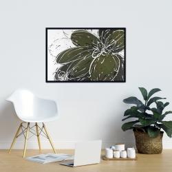 Framed 24 x 36 - Green flower with splash outline