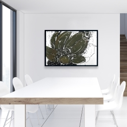 Framed 24 x 36 - Abstract flower with paint splash