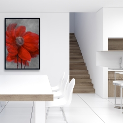 Framed 24 x 36 - Red flower in the wind