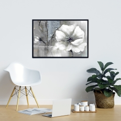 Framed 24 x 36 - Monochrome and silver flowers